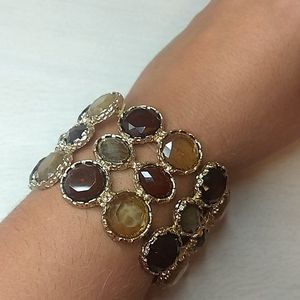 Faux Gold Elastic Bracelet with Faux Brown Stones